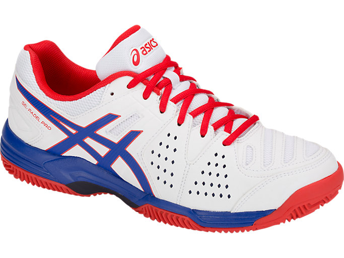 Front Right view of GEL-PADEL™ PRO 3 SG, WHITE/ASICS BLUE