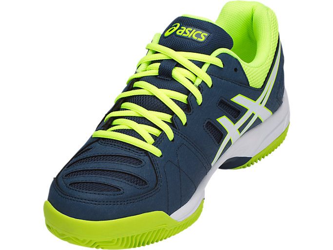 Front Left view of GEL-PADEL™ PRO 3 SG, DARK BLUE/WHITE/SAFETY YELLOW