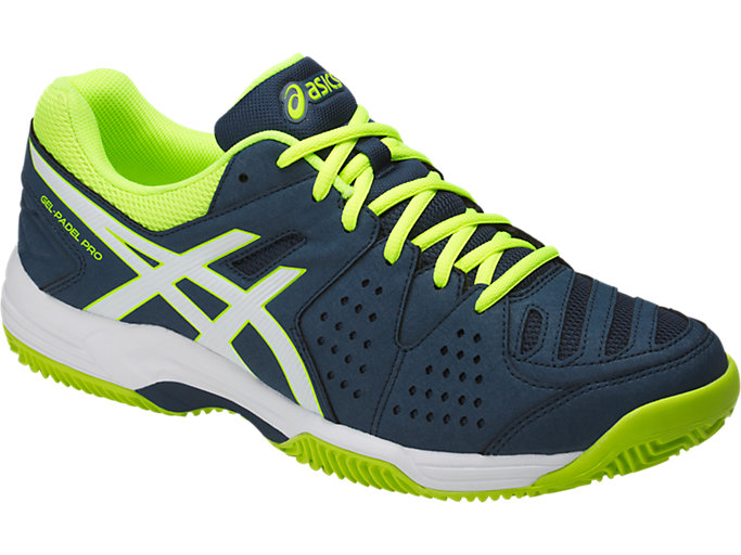 Front Right view of GEL-PADEL™ PRO 3 SG, DARK BLUE/WHITE/SAFETY YELLOW