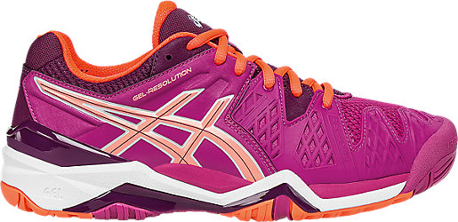 Asics Tennis shoes Womens Plum Coral Gel resolution 6 Berry Flash