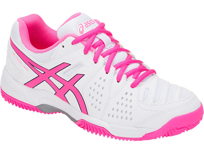 Front Right view of GEL-PADEL™ PRO 3 SG, WHITE/HOT PINK