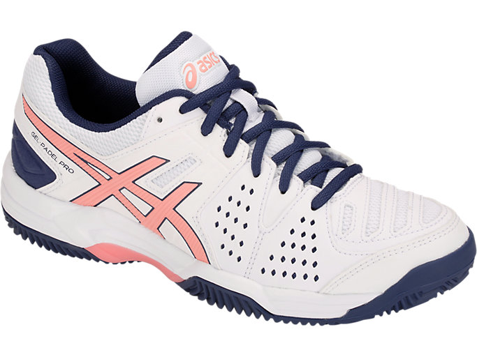 Front Right view of GEL-PADEL™ PRO 3 SG, WHITE/GRAPEFRUIT