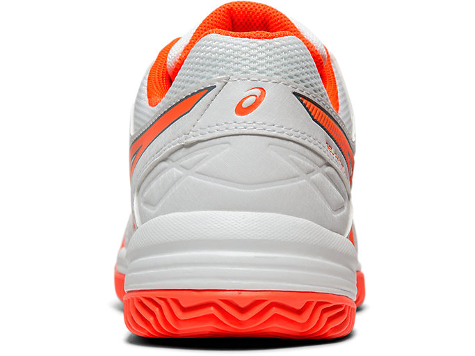 Back view of GEL-PADEL™ PRO 3 SG, WHITE/FLASH CORAL