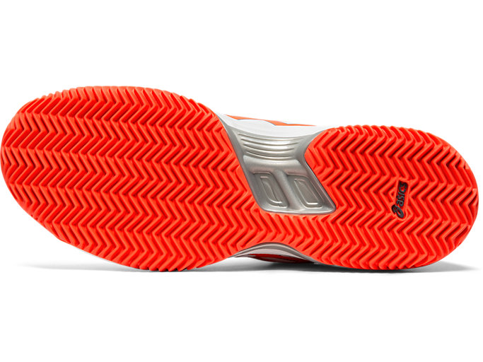 Bottom view of GEL-PADEL™ PRO 3 SG, WHITE/FLASH CORAL