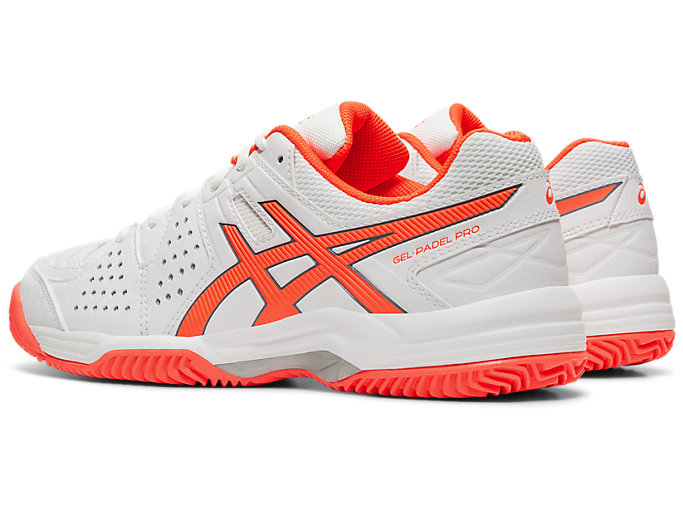 Front Left view of GEL-PADEL™ PRO 3 SG, WHITE/FLASH CORAL
