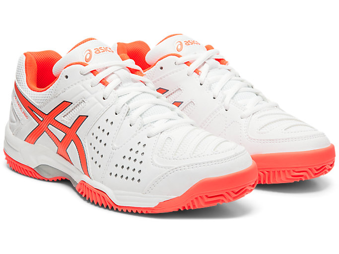 Front Right view of GEL-PADEL™ PRO 3 SG, WHITE/FLASH CORAL