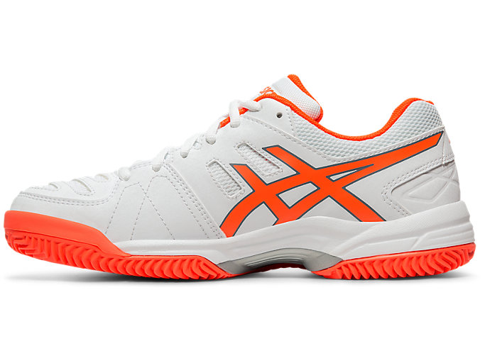 Left side view of GEL-PADEL™ PRO 3 SG, WHITE/FLASH CORAL