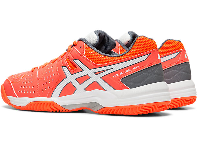 Front Left view of GEL-PADEL™ PRO 3 SG, FLASH CORAL/WHITE