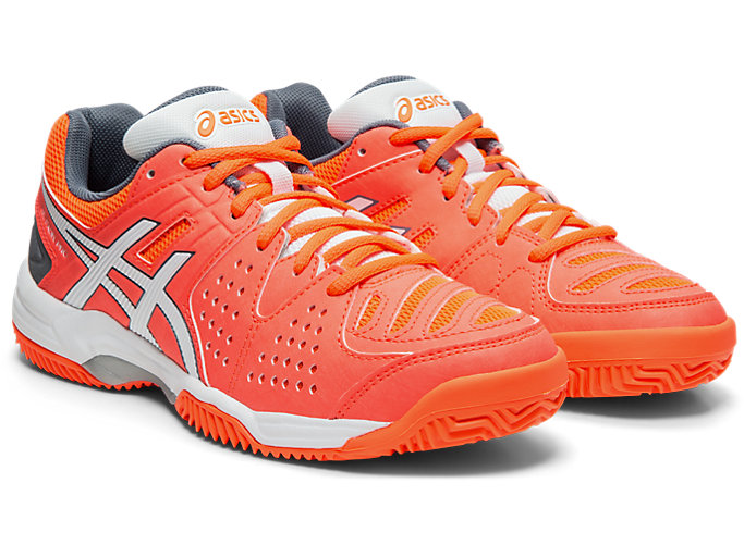 Front Right view of GEL-PADEL™ PRO 3 SG, FLASH CORAL/WHITE