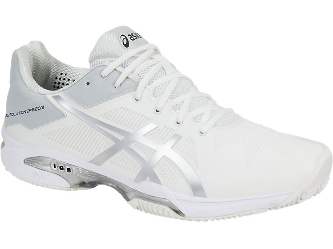 Asics Mens Gel-Solution Speed 3 Clay Tennis Shoes White Sports Lightweight