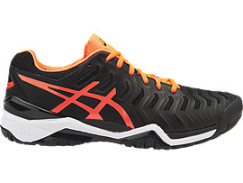 GEL-RESOLUTION 7, BLACK/SHOCKING ORANGE/WHITE