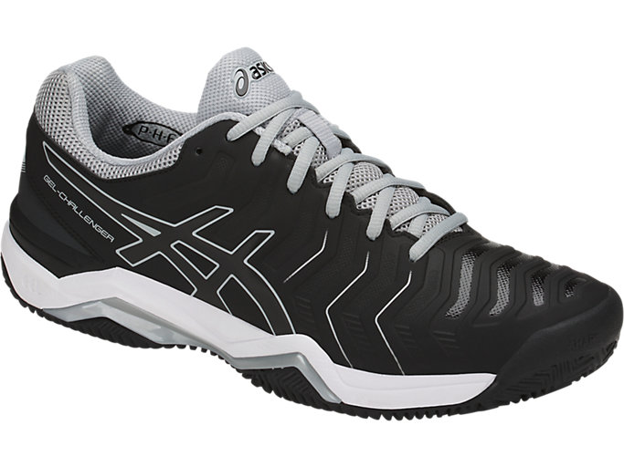 Front Right view of GEL-CHALLENGER 11 CLAY, BLACK/BLACK/MID GREY