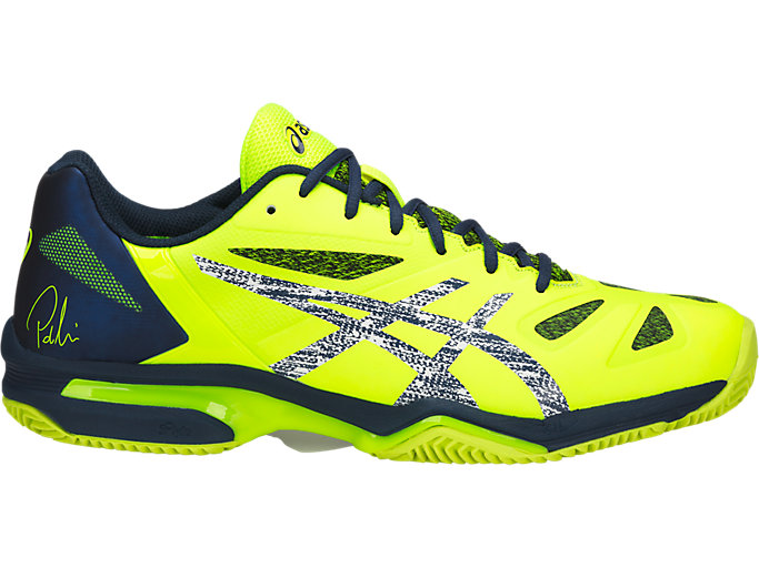 Right side view of GEL-LIMA PADEL, SAFETY YELLOW/DARK BLUE