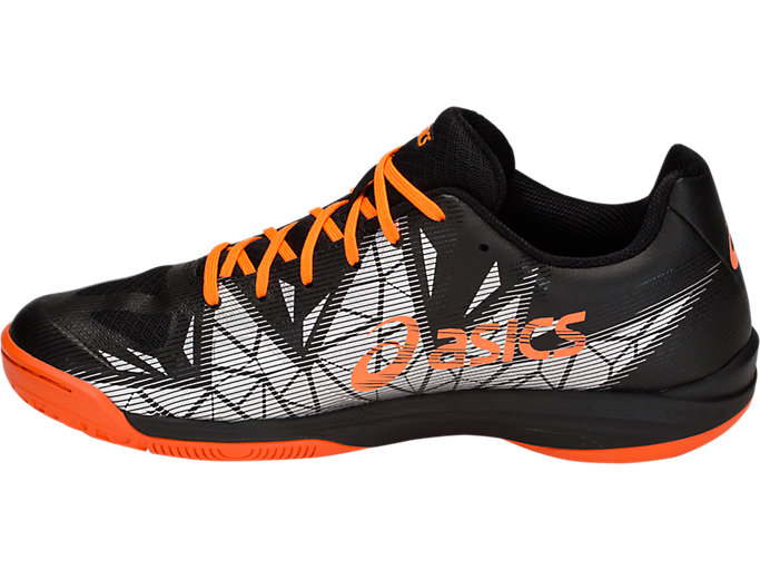 Left side view of GEL-FASTBALL 3, BLACK/SHOCKING ORANGE