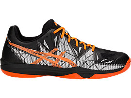 Right side view of GEL-FASTBALL 3, BLACK/SHOCKING ORANGE