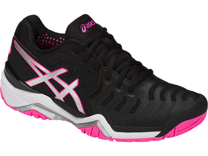 Front Right view of GEL-RESOLUTION™ 7, BLACK/SILVER/HOT PINK