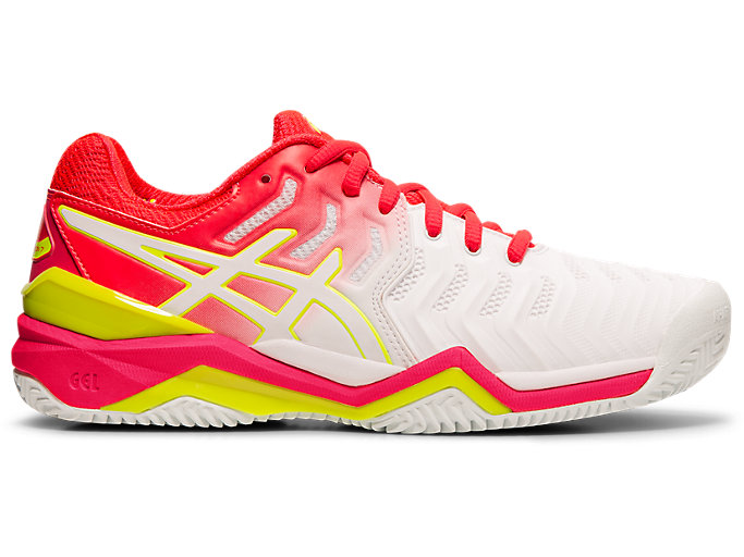 Women's GEL-RESOLUTION 7 CLAY | WHITE/LASER PINK | Tennis ...