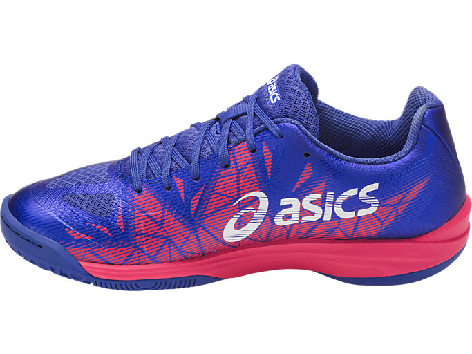 Left side view of GEL-FASTBALL 3, BLUE PURPLE/WHITE/ROUGE RED