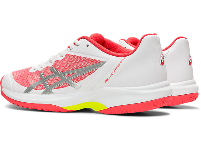 Front Left view of GEL-COURT SPEED, WHITE/LASER PINK
