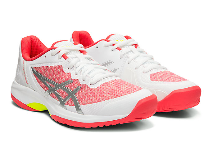 Front Right view of GEL-COURT SPEED, WHITE/LASER PINK