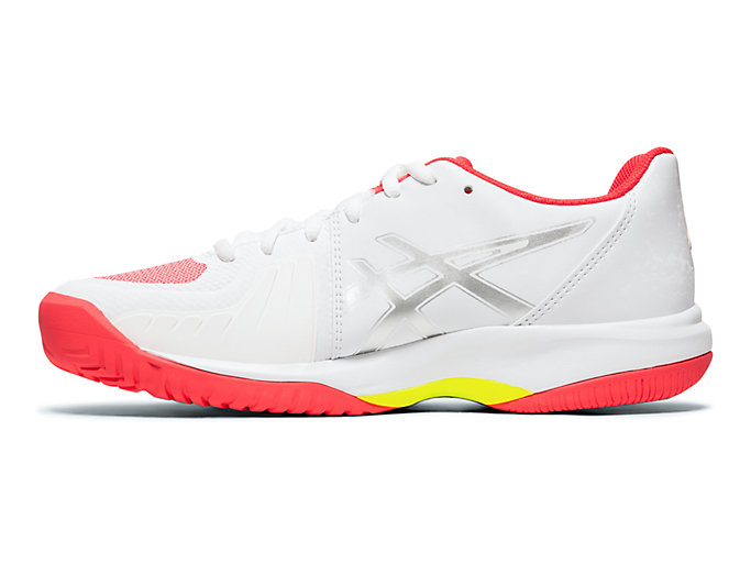 Left side view of GEL-COURT SPEED, WHITE/LASER PINK