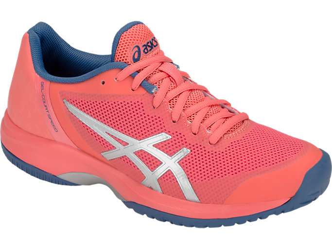 Front Right view of GEL-COURT™ SPEED, PAPAYA/SILVER