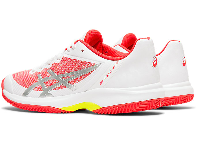 Front Left view of GEL-COURT™ SPEED CLAY, WHITE/LASER PINK