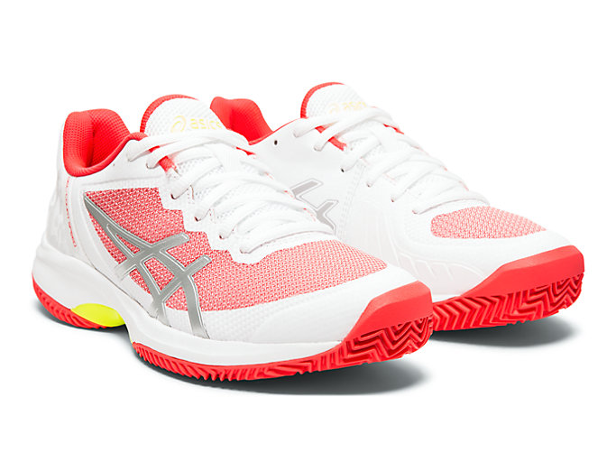 Front Right view of GEL-COURT™ SPEED CLAY, WHITE/LASER PINK