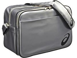 エナメルショルダーバッグXL, シルバー×ブラック