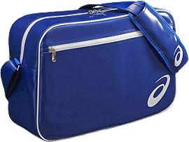 エナメルショルダーバッグM, ブルー / ホワイト