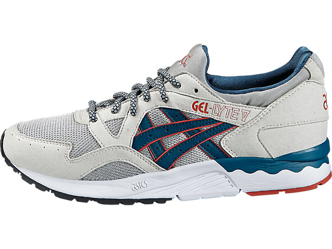 Left side view of GEL-LYTE V, LIGHT GREY/LEGION BLUE