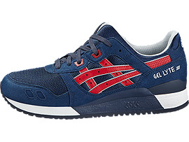Left side view of GEL-LYTE III, INDIAN INK/TANGO RED