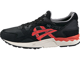 Left side view of GEL-LYTE V, BLACK/CHILI