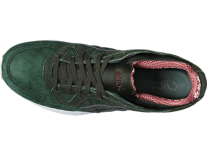 Top view of GEL-LYTE V, DARK GREEN/DUFFLE BAG