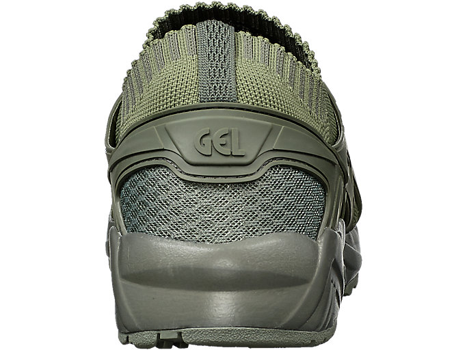 Back view of GEL-KAYANO TRAINER KNIT, AGAVE GREEN/AGAVE GREEN