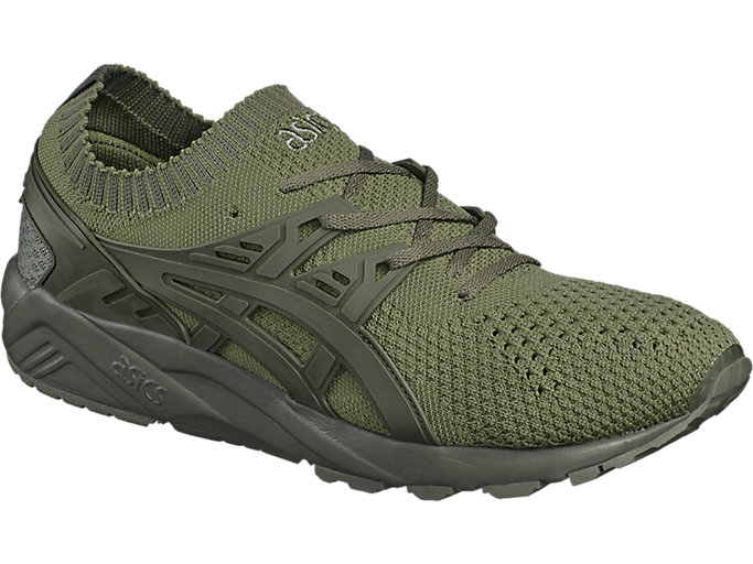 Front Left view of GEL-KAYANO TRAINER KNIT, AGAVE GREEN/AGAVE GREEN