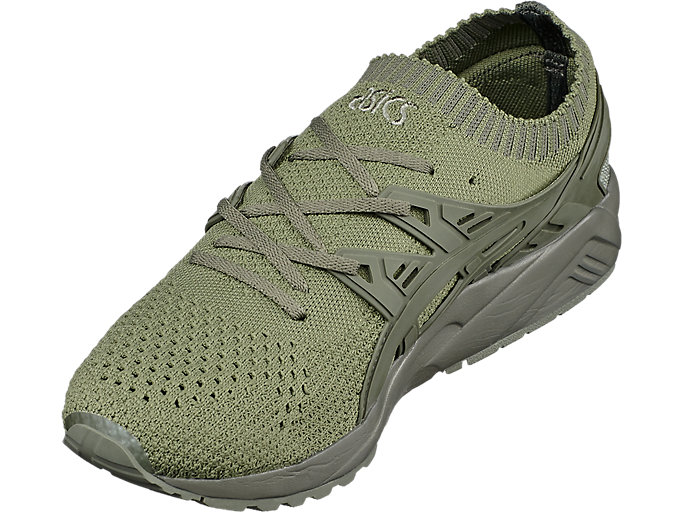 Front Right view of GEL-KAYANO TRAINER KNIT, AGAVE GREEN/AGAVE GREEN