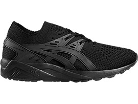 Right side view of GEL-KAYANO TRAINER KNIT, BLACK/BLACK