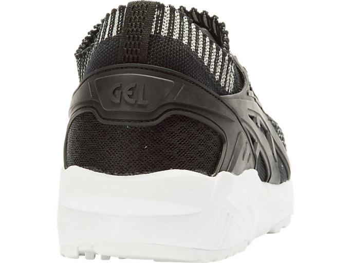 Back view of GEL-KAYANO TRAINER KNIT, SILVER/BLACK