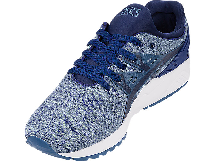 Front Left view of GEL-KAYANO TRAINER EVO, PIGEON BLUE/NAVY PEONY