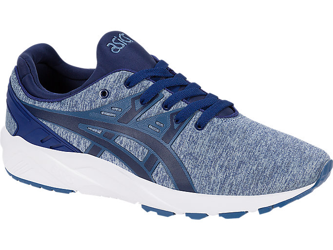 Front Right view of GEL-KAYANO TRAINER EVO, PIGEON BLUE/NAVY PEONY