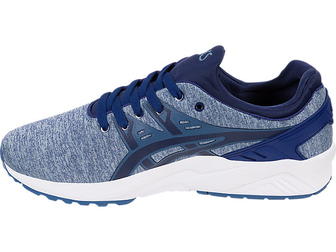 Left side view of GEL-KAYANO TRAINER EVO, PIGEON BLUE/NAVY PEONY