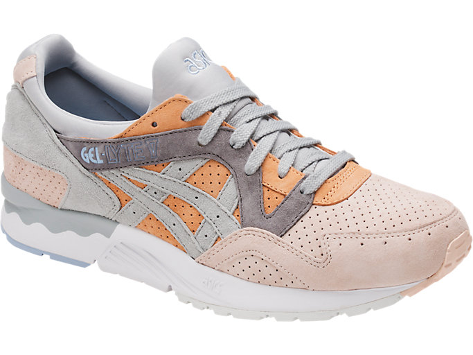 Front Right view of GEL-LYTE V, APRICOT NECTAR/MID GREY
