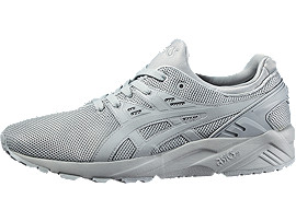 Front Right view of GEL-KAYANO TRAINER EVO, LIGHT GREY/LIGHT GREY