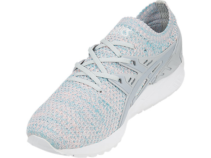 Front Left view of GEL-KAYANO TRAINER KNIT, GLACIER GREY/MID GREY