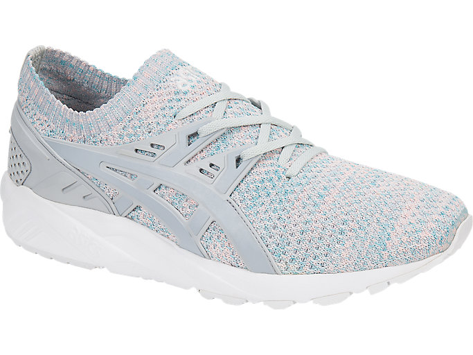Front Right view of GEL-KAYANO TRAINER KNIT, GLACIER GREY/MID GREY