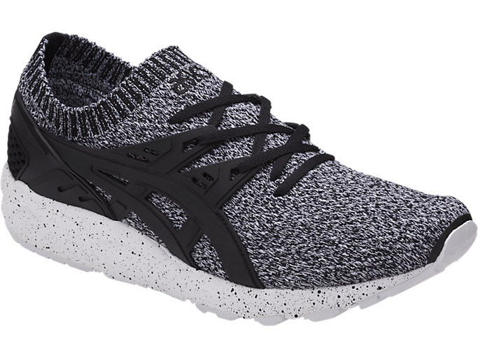 Front Right view of GEL-KAYANO TRAINER KNIT, WHITE/BLACK