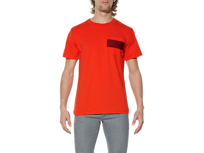 Front Top view of T-SHIRT, RED