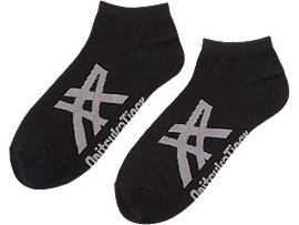 Front Top view of ANKLE SOCKS, BLACK/HEATHER GRAY