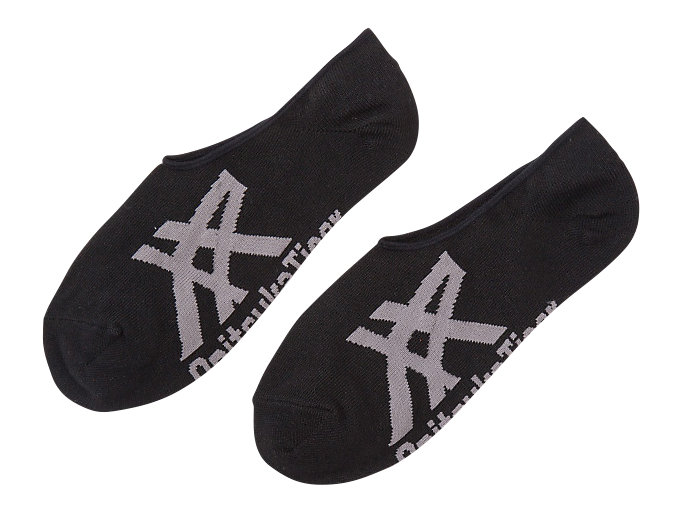 Front Top view of INVISIBLE SOCKS, BLACK/HEATHER GRAY